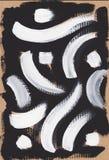 Puntos y líneas negros blancos extracto de la pintura Foto de archivo