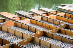 Punts. Moored on the river in Oxford stock photography