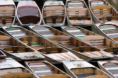 Punts. Tied up on the in Oxford, UK royalty free stock images