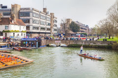 Punts on Cam river in Cambridge, UK Stock Photo