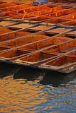 Punts Docked at Riverside in Cambridge Stock Images