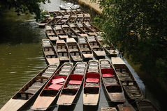 Punts on the Oxford canal. In Oxfordshire waiting for hire Royalty Free Stock Images