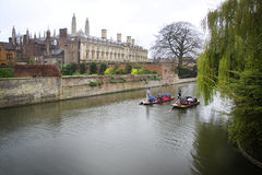 Punts in the River Cam - Cambridge, England Royalty Free Stock Images