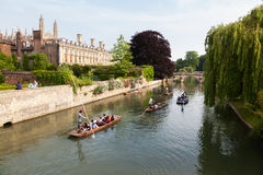 Punts on the river Cam in Cambridge, UK Royalty Free Stock Image