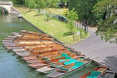 Punts on the River Cam. Punts for hire on the River Cam, Cambridge stock images
