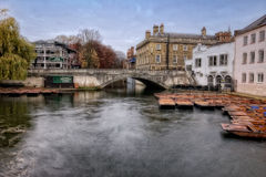 Punts On the River at Cambridge. In the early morning royalty free stock photos