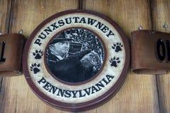 Punxsutawney Phil`s Burrow official seal. Punxsutawney, Pennsylvania, USA - June 30, 2018 : Official seal at Punxsutawney Phil, Groundhogs Day official furry stock images