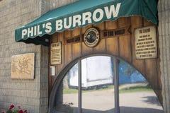 Punxsutawney Phil`s Burrow. Punxsutawney, Pennsylvania, USA - June 30, 2018 : Punxsutawney Phil`s, Groundhogs Day`s official furry prognosticator, Burrow in royalty free stock photo