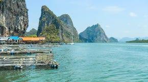 Punyi wyspa Panyee lub Koh, muzułmańska wioski podróż łodzią w Phang Nga zatoce, Tajlandia obraz stock