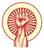 Puño soviético del estilo del cartel de la propaganda Imagenes de archivo