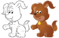 Pup. Isolated clip-art of a brown pup (2 versions of the illustration Stock Photography