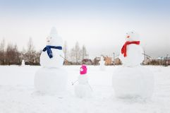 Pupazzi di neve Fotografie Stock Libere da Diritti