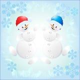 Pupazzi di neve allegri Fotografia Stock