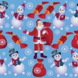 Pupazzi di neve allegri e Santa con i regali Immagine Stock