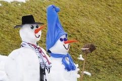 Pupazzi di neve amichevoli Fotografie Stock