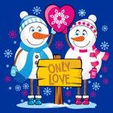 Pupazzi di neve degli amanti Soltanto amore illustrazione vettoriale