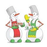 Pupazzi di neve di Natale del ricevimento pomeridiano Fotografia Stock