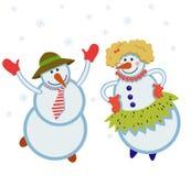 Pupazzi di neve divertenti di dancing Immagini Stock