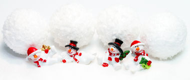 Pupazzi di neve e palle di neve Fotografie Stock Libere da Diritti