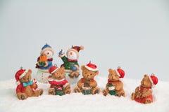 Pupazzi di neve ed orsi di Natale Immagine Stock Libera da Diritti