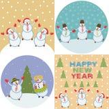 Pupazzi di neve felici allegri fotografia stock