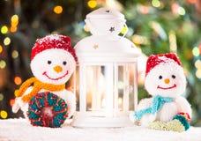 Pupazzi di neve tricottati Immagine Stock