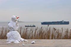 Pupazzo di neve alla spiaggia fotografie stock