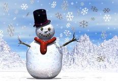 Pupazzo di neve allegro con i fiocchi di neve Immagini Stock