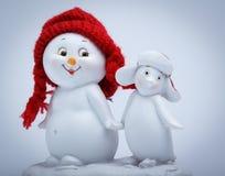 Pupazzo di neve allegro e pinguino Fotografie Stock Libere da Diritti
