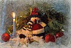 Pupazzo di neve allegro Di natale vita ancora Acquerello bagnato di verniciatura su carta Arte ingenuo Arte astratta Acquerello d royalty illustrazione gratis