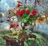 Pupazzo di neve allegro Di natale vita ancora Acquerello bagnato di verniciatura su carta Arte ingenuo Arte astratta Acquerello d illustrazione vettoriale