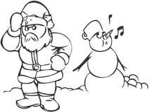 Pupazzo di neve & Santa Immagine Stock