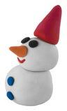 Pupazzo di neve bianco felice con il cappello su bianco Fotografie Stock Libere da Diritti