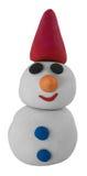 Pupazzo di neve bianco felice con il cappello su bianco Fotografia Stock Libera da Diritti