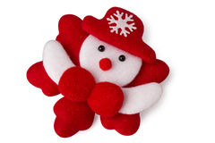 Pupazzo di neve bianco sul fiocco di neve rosso isolato su bianco Fotografia Stock Libera da Diritti