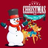 Pupazzo di neve in black hat e guanti, sciarpa rossa legata intorno al collo, naso dai cervi sorridenti della carota alle luci di Illustrazione Vettoriale