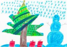 Pupazzo di neve blu, grande albero di Natale, disegno del bambino royalty illustrazione gratis