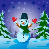 Pupazzo di neve - cartolina d'auguri del nuovo anno e di Natale Fotografie Stock