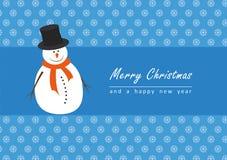 Pupazzo di neve in cartolina fredda di inverno Immagini Stock Libere da Diritti