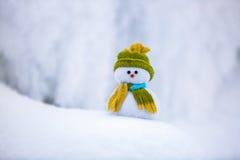 Pupazzo di neve che l'amico sta stando in cappello e sciarpa piacevoli con rosso nessun Immagini Stock