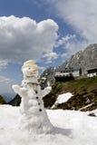 Pupazzo di neve che si fonde nel disgelo della sorgente Fotografie Stock
