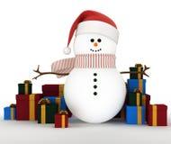 Pupazzo di neve circondato dai contenitori di regalo Fotografia Stock Libera da Diritti