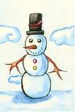 Pupazzo di neve con black hat Fotografia Stock Libera da Diritti