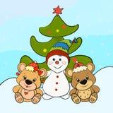 Pupazzo di neve con gli orsi e l'albero di Natale svegli illustrazione vettoriale