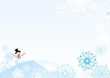 Pupazzo di neve con i fiocchi di neve Fotografie Stock Libere da Diritti