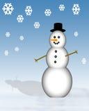 Pupazzo di neve con i fiocchi di neve Fotografia Stock Libera da Diritti