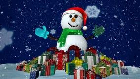 Pupazzo di neve con i presente stock footage