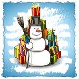 Pupazzo di neve con i regali Fotografie Stock Libere da Diritti