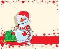Pupazzo di neve con i regali di natale Immagine Stock Libera da Diritti