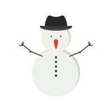 pupazzo di neve con il bottone di camicia e black hat Royalty Illustrazione gratis